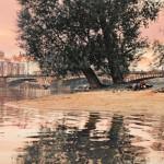 Prag, Baum umgeben von Wasser im Hintergrund eine Bruecke