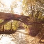 Brücke mit Riesenrad im Hintergrund, Spreepark Berlin Plaenterwald