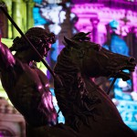 Festival of Lights 2015, Reiter, Löwenkämpfer vorm Berliner Dom